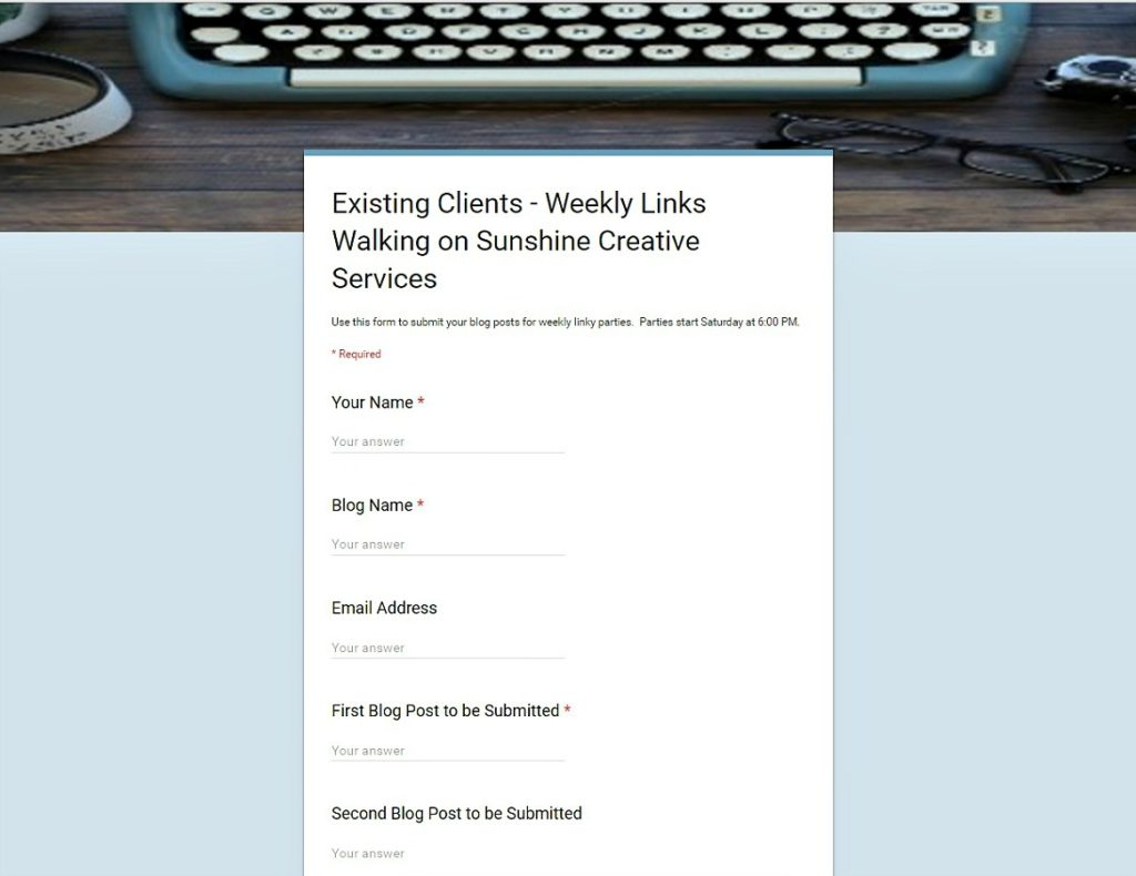 Existing Clients Form Photo from Walking on Sunshine Creative Services