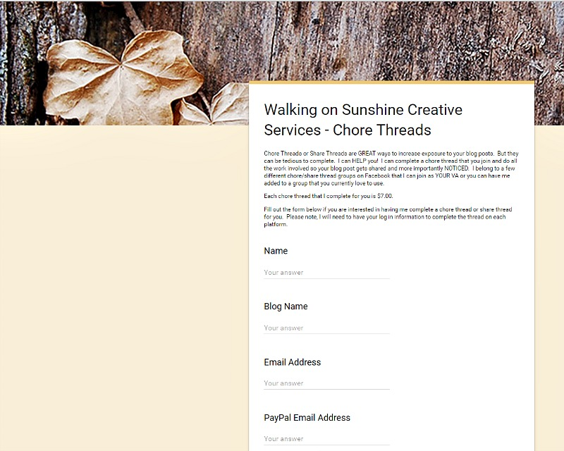 Chore Threads Information and Form from Walking on Sunshine Creative Services